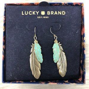 NWT Lucky Brand Metallic Feather Drop Earring